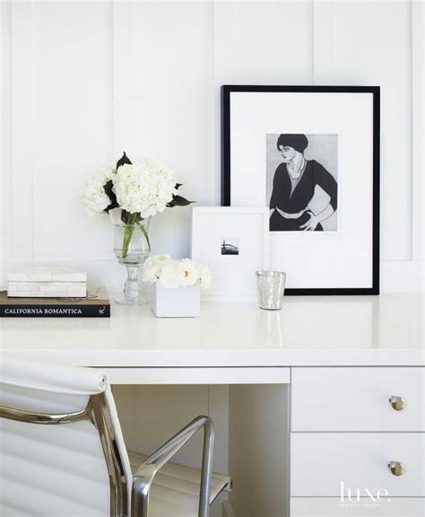 white desk decor white office with black accents transitional den