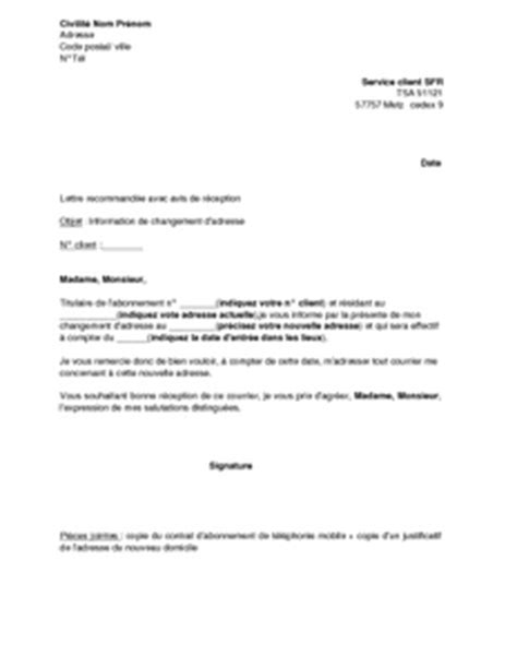 Demande De Changement D Adresse Lettre Exemple Gratuit De Lettre Information Changement Adresse Sfr