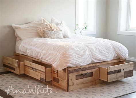 white scrap wood storage bed with drawers