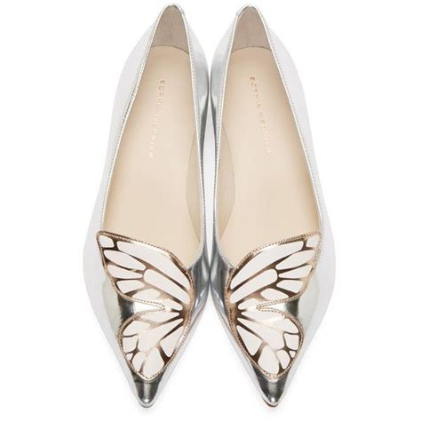 silver flat pointed shoes metallic flats in silver pointed toe butterfly wing