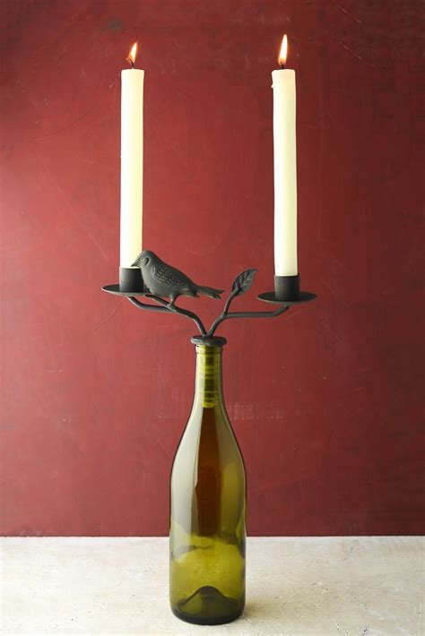 candelabra candle two taper iron wine bottle candelabra