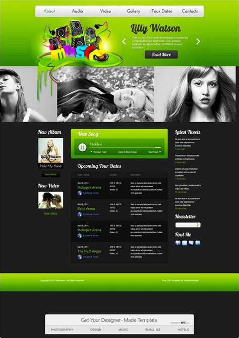 15 free entertainment html5 css3 website templates