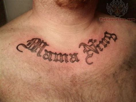 lettering tattoo on chest for men