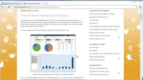 template excel template for personal finance