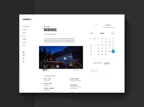 event ui design snowbird event calendar v1 by ben cline dribbble