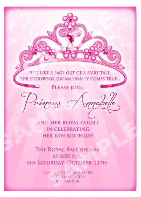 princess birthday invitation diy princess by artisacreations