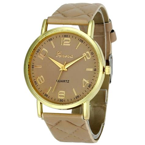 cheap wrist geneva faux leather analog