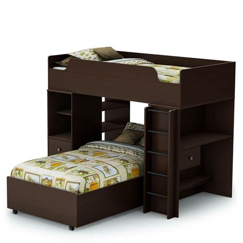 south shore loft bed south shore furniture logik twin loft bed in chocolate 4