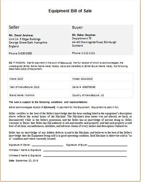 Bill Of Sale Templates For Ms Word Word Excel Templates Equipment Bill Of Sale Template