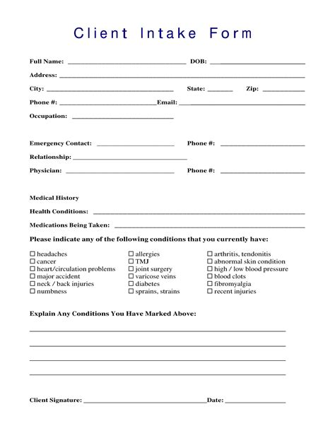13 Client Intake Forms Pdf Doc Client Intake Form Template