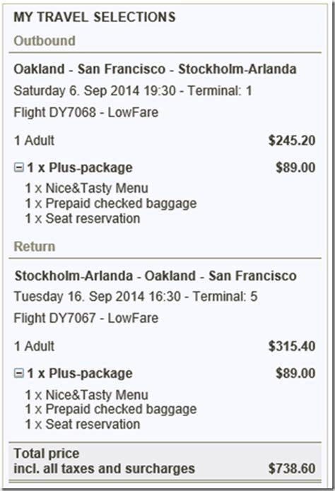 norwegian air  checked bag fee oak stockholm