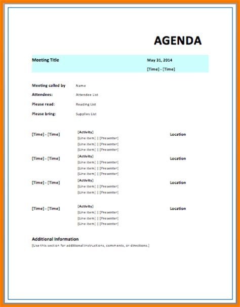 Microsoft Word Meeting Agenda Template microsoft agenda template authorization letter pdf