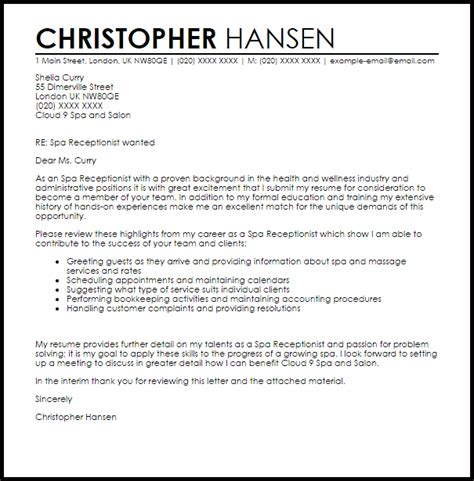 cover letter sles for receptionist spa receptionist cover letter sle livecareer
