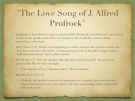 themes of the lovesong of j alfred prufrock quot the love song of j alfred prufrock quot epigraph is from