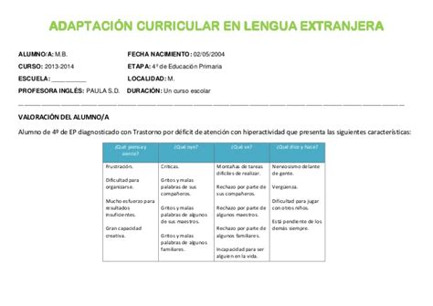 Modelo Adaptacion Curricular Ingles Primaria Adaptaci 243 N Curricular No Significativa Paula Sobrepere
