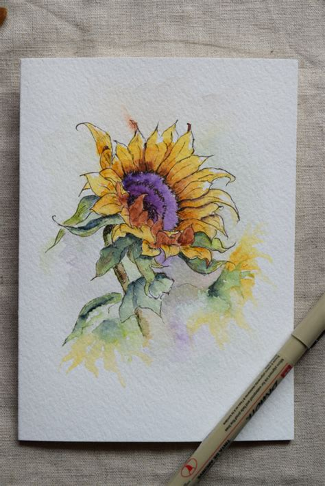 Card Painted sunflower watercolor painted card prints only
