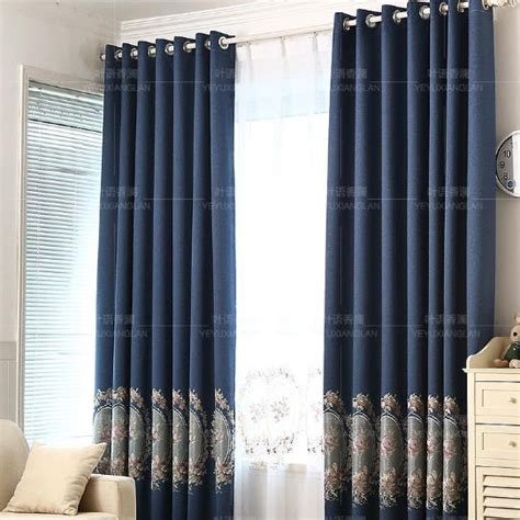 navy linen curtains navy blue floral embroidery linen country curtains for