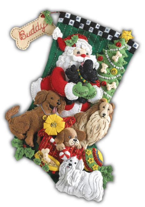 felt applique kits santa paws bucilla kit