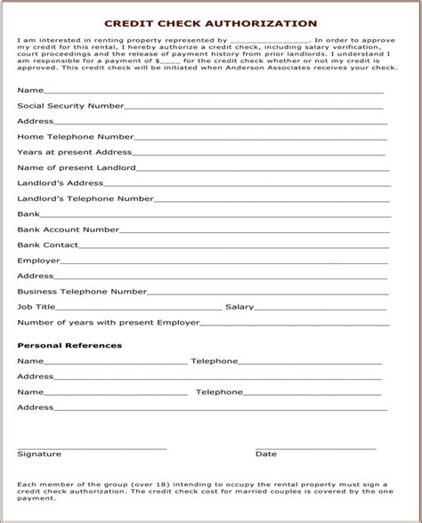 Credit Check Form Tenant 28 Images Credit Check Forms For Rentals Word Business Credit Check Form Tenant 28 Images Credit Check Forms For Rentals Word Business
