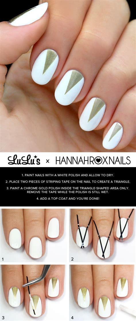 nail art triangle tutorial mani monday white and gold triangle nail tutorial lulus