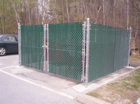 dumpster enclosure chain link round hill fence