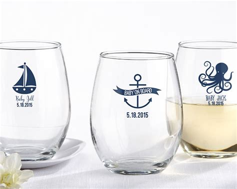 baby shower personalized wine glass personalized stemless wine glass nautical baby shower