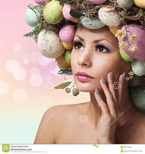 easter time avarde look hairstles easter woman spring girl with fashion hairstyle stock