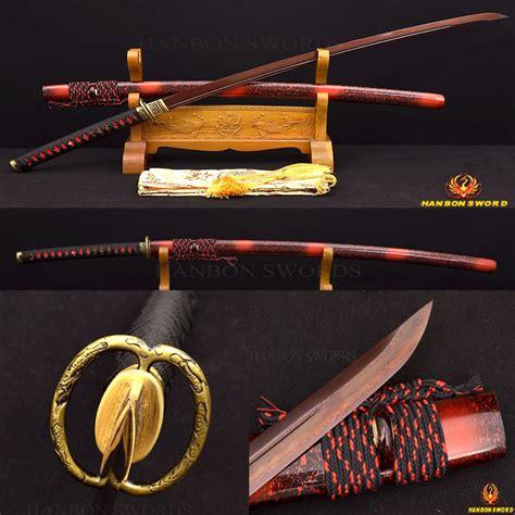 Pedang Samurai Pedang Katana Black 41 quot japanese samurai sword katana tang damascus folded clay tempered black