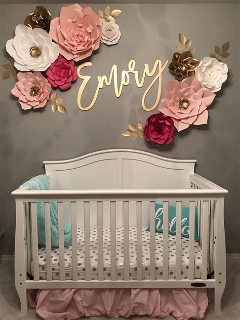 baby nursery name decal wall flowers nursery