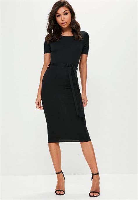 Sleeve Tie Waist Dress black sleeve tie waist midi dress missguided