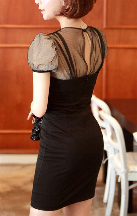 Sheer Panel Sheath Dress chuu sheath dress with sheer panel kstylick