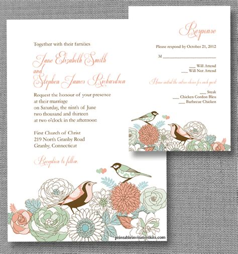 vintage birds invitation and rsvp wedding invitation