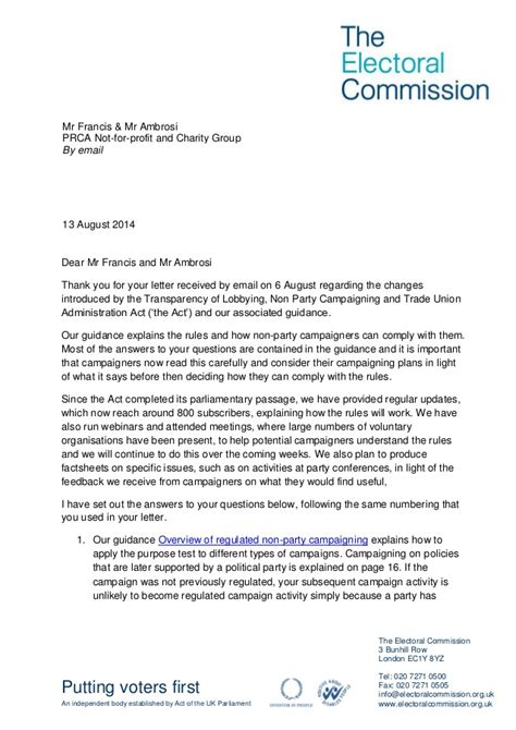 charity commission letter electoral commission letter to prca not for profit and