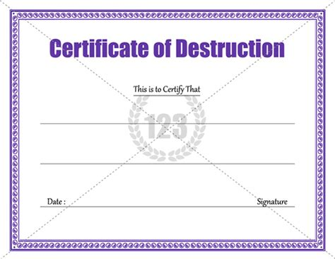 certificate of destruction template sle templates