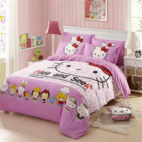 warm comforter sets thickening hello kitty printing 4 pcs mattess hold sheet
