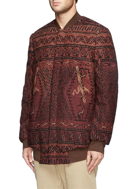 rug jacket paul smith flamingo rug tapestry tweed bomber jacket in for lyst