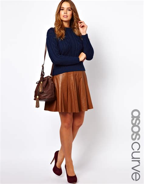 asos curve skater skirt in leather in brown lyst