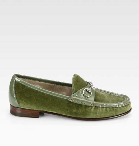 green gucci loafers gucci horsebit patent leather loafers in green lyst