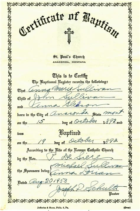 catholic baptism certificate template my trails into the past church record sunday baptism of