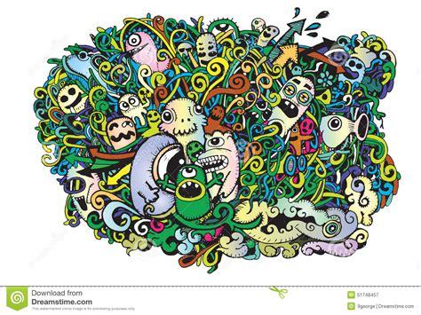 doodle monsters vector doodle monsters doodle drawing style stock vector