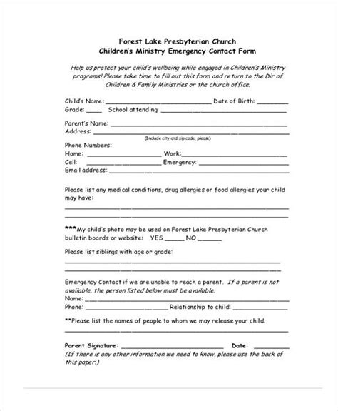 Emergency Contact Form Template For Child by 34 Emergency Contact Forms