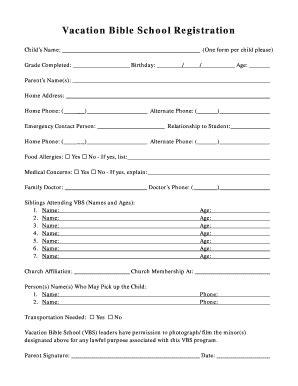 Pin Adobe Pdf Printable Registration Form On Pinterest Vbs Registration Form Template