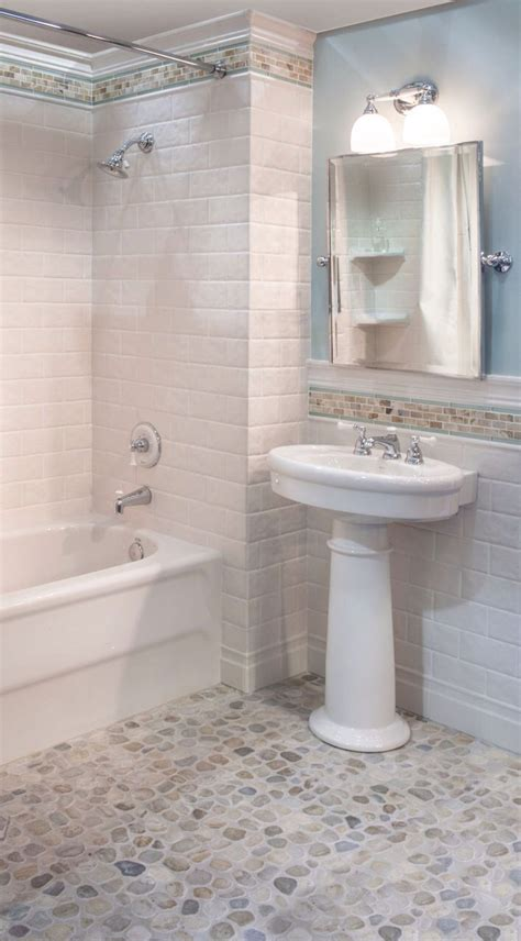White Pebble Tiles Bathroom by Sea Green And White Pebble Tile Kid Bathrooms Rock And Bath