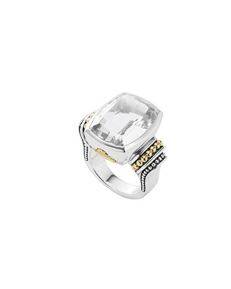 lagos 20mmm caviar color white topaz ring size 7