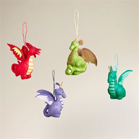paper dragon ornaments set of 4 world market