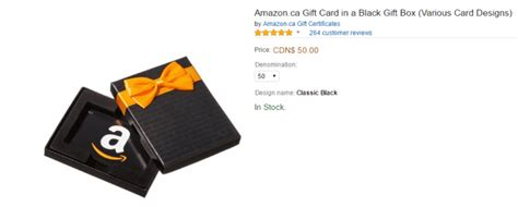 Amazon Canada Gift Card - amazon ca gift card in a black gift box various card designs 50 00 hot canada