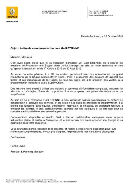 Lettre De Recommandation Linkedin Lettre Recommandation Renault