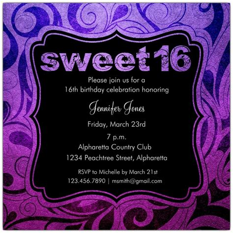 brilliant emblem sweet 16 birthday party invitations