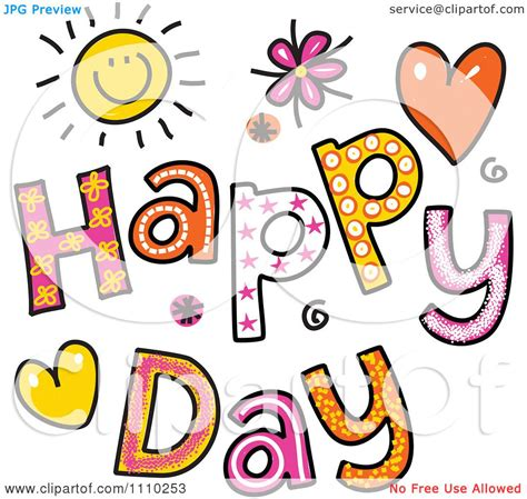 Happy Day Clip by Clipart Colorful Sketched Happy Day Text Royalty Free