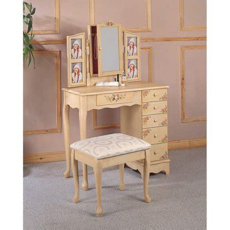 makeup vanity table walmart coaster painted wood makeup vanity table set with